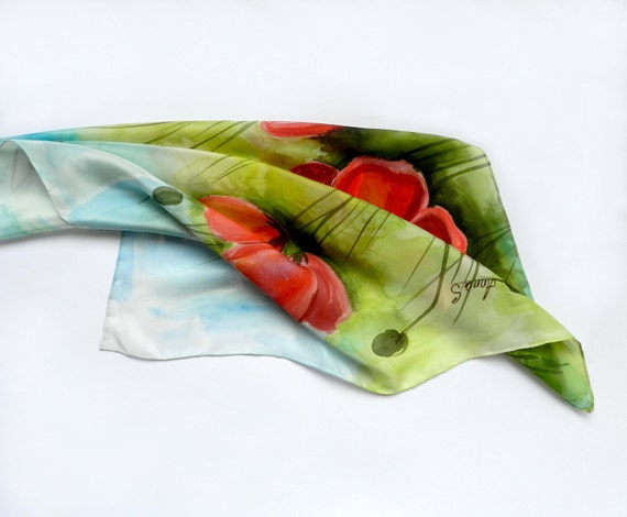 Silk scarf  with Poppies, hand painted on natural silk.  Red and green summer accessory. Made to order.