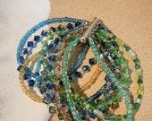 sand and sea bead and swarovski crystals bracelet