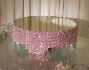 """18"""" Round, Pink Crystal Covered cake stand"""