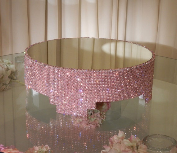 crystal cake stand items similar to 18 quot pink covered cake 3203