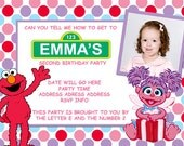 Sesame Street Abby And Elmo Invitation Digital File 4X6 or 5X7