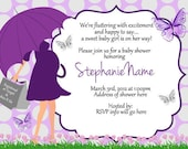Butterfly Baby shower Umbrella Invitations Digital Print as many as you need