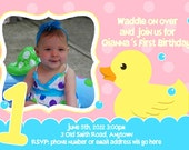 Rubber Duck Invitation Digital File 4X6 or 5X7 print as many need.