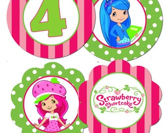 Strawberry Shortcake Cupcake Toppers Digital File