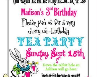 Alice in Wonderland Invite Mad Hatter Tea Party Invitation Digital File 4X6 or 5X7