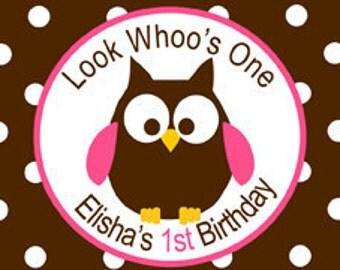 Owl Look Whoo's Turning one Waterbottle Label Digital File
