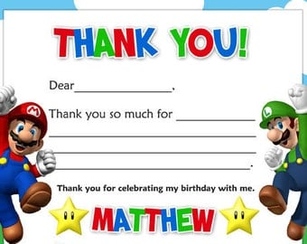 Super Mario Brothers Thank You Card Digital File 4X6 or 5X7