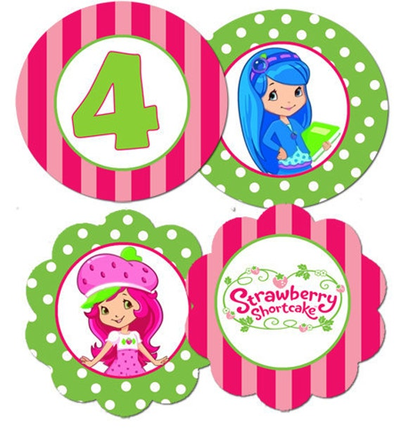 Strawberry Shortcake Cupcake Toppers Digital File