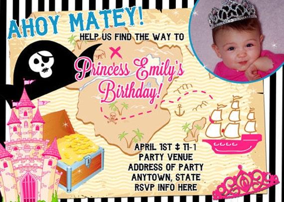 Princess and Pirates Invite Invitation Digital File 4X6 or 5X7