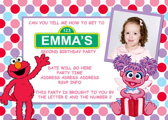 Sesame Street Abby And Elmo Invitation Digital File 4X6 or 5X7