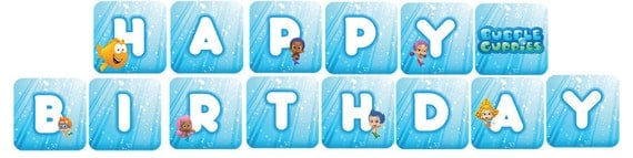 Bubble guppies banner digital files print as by digitalparties - Bubble guppies birthday banner template ...
