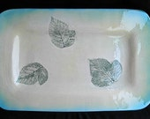 Serving Tray with real blackberry leaf detail in blue and green.