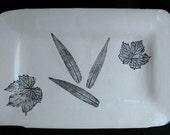 Serving Tray with real sage leaf detail in elegant black and white.
