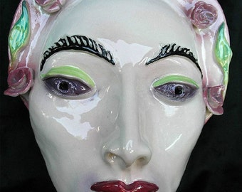 Rosy Ceramic Wall Mask