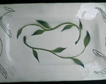 Serving Tray with original green leaf Stencil and incised vining leaf design.