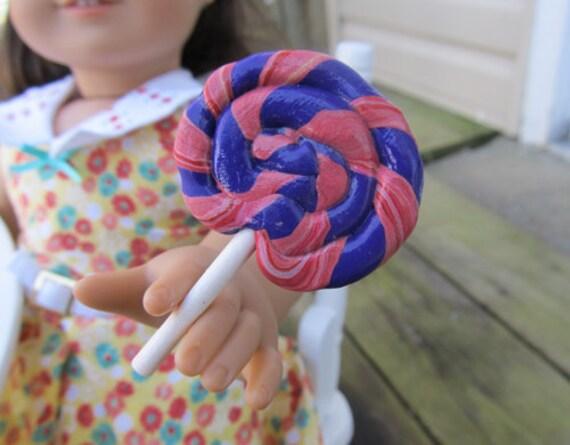 Purple and Pink Swirl Lollipop for 18-inch Dolls