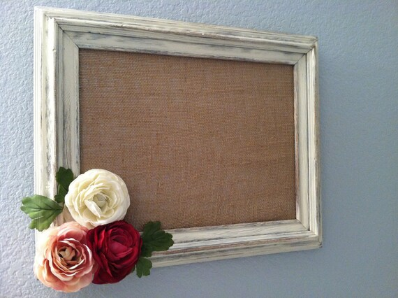 Decorative Magnetic Framed Burlap Board With Distressed