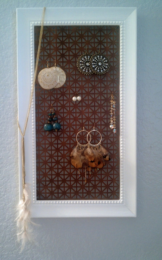 Framed jewelry display - white frame with copper background