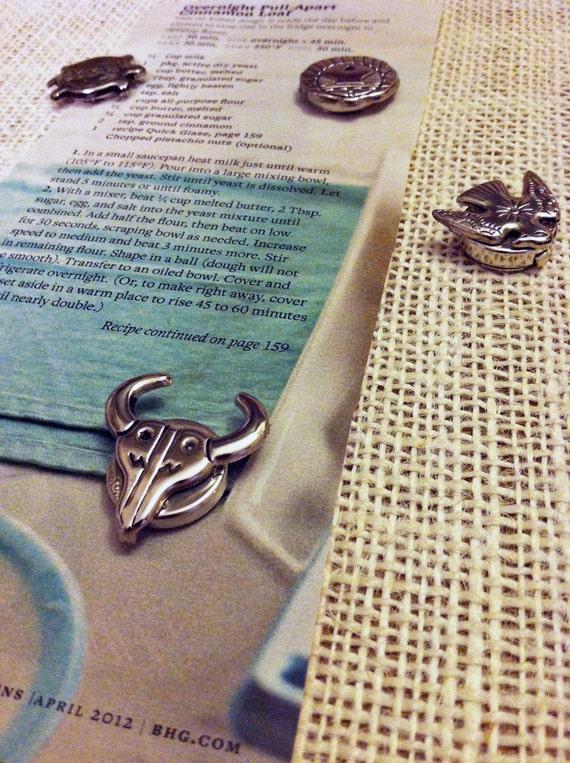 RESERVED: jmyaunch - Set of 5 silver Southwestern handmade vintage magnets