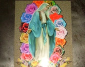 """Flat Magnet """"Mary with roses"""""""