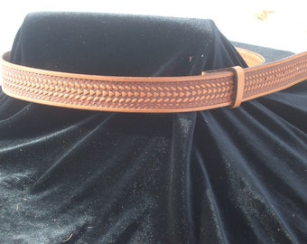 Hand Tooled Leather Belt with Basket Weave