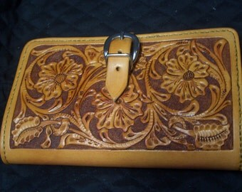 Hand Tooled Leather Notepad Holder