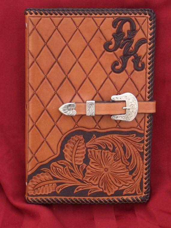 Hand Tooled Leather Notepad Holder with Beautiful Floral Design