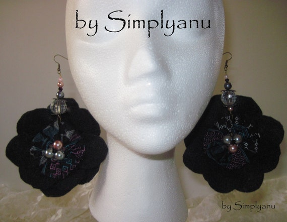 Large Black,  Double Sided Dangle Cabbage Rosette Earrings, with Felt Lining and Beads Adorned Throughout