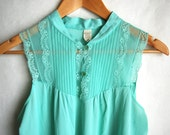 Vintage 1960s Mint Green Slip Dress Nightgown Montgomery Ward Medium