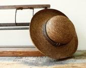 Vintage Garden Hat / Vintage Beach Hat / Vintage Straw Hat / Wide Brimmed Hat