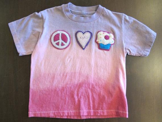 Peace, Love & Cupcakes Kid in Dip Dye - Girls Tshirt - Size 4T