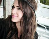 Braided Hippie Headband - light and dark brown leather
