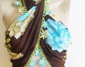 Turkish Yemeni, Cotton Gauze Scarf With Handmade Crochet Lace