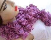 20% DISCOUNT--------Lilac  Ruffle Scarf-Spring Fashion Handmade in Turkey