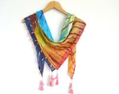 Cotton Scarf / Colorful Tufty Scarf / Handmade in Turkey / Spring Color  / Elegant Fashion / Colorful Pashmina