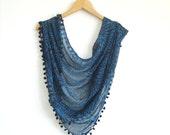 Navy Blue Gauzy Scarf With Ponpon / Turkish Handmade Scarf / Spring Fashion Shawl With Oya / Blue Pashmina