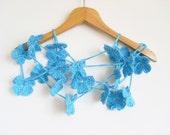 Crochet Scarf /  Aqua Blue Daisy Flower Scarf / Handmade in Turkey /  Spring Fashion Shawl / Scarf With Flowers