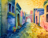 Greece 1 - print, watercolor, 13 X 18 cm, warm, vivid colors, Mexico, Spain, town, houses, expressionist, free shipping