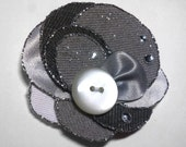 Romantic flower for brooch or hair, grey white denim fabric, glitter, button, vintage, summer fashion, upcycling
