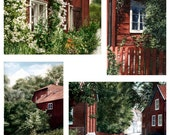 Watercolor postcard set - Sweden, red cottages, old house, flowers, old town, print, 13x18 cm, free shipping