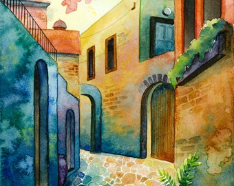 Greece 3 - print, watercolor, 13 X 18 cm, town, street, warm, Mexico, Spain, vivid colors, expressionist, free shipping