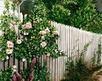 Watercolor art print, flowers fence, 13 X 18 cm, garden, roses, old town, free shipping