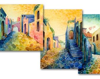 Postcard set - Greece, Mexico, Spain, watercolor, colorful, warm, print, 13x18 cm, free shipping