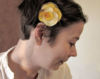 Upcycled handmade flower hair piece for party, bohemian wedding or date, summer fashion, yellow, sunny