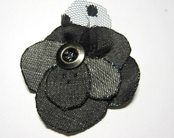 Handmade Flower -  black levis denim and satin fabric, for brooch or hair, bobby pin or safety pin, upcycling