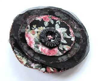 Handmade black and pink flower -  cotton fabric, chiffon, button and glitter, brooch, spring, upcycling, summer