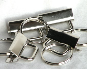Key Fob Hardware Key Chain 1.25 inch Nickel Plated 5 sets
