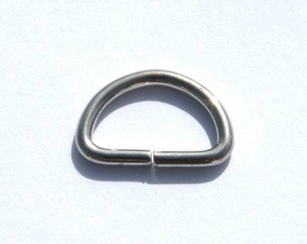 D Ring 1/2 inch (11.2mm) Nickel plated 10 each