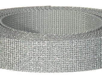 Webbing Silver Shimmer  5yards Key Fobs Purse Bag Straps Handles