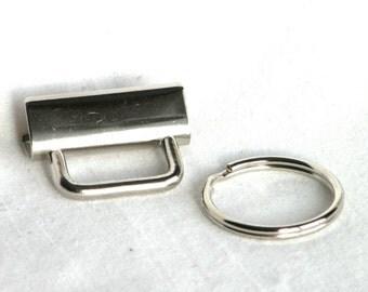 1 inch Key Fob Hardware Wholesale Bulk 1000 sets Nickel Plated